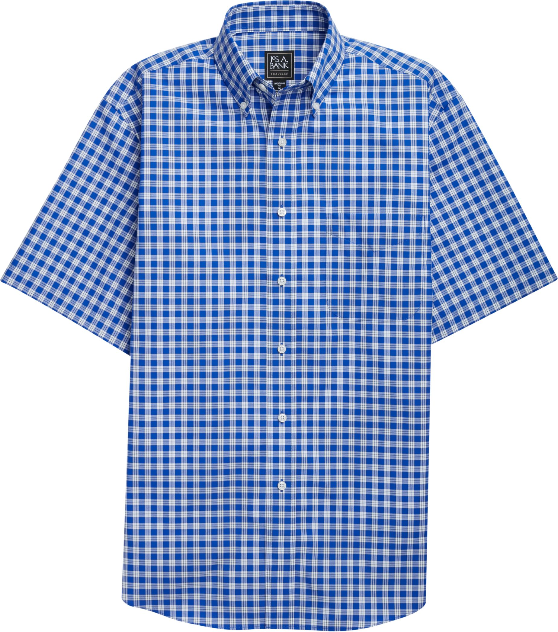 Traveler Collection traditional fit Short-Sleeve Collar Check Sportshirt