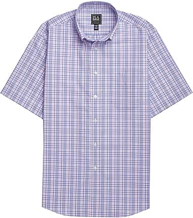 Traveler Collection Tailored Fit Button-Down Collar Plaid Short-Sleeve  Sportshirt