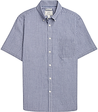1905 Collection Tailored Fit Short-Sleeve Button Down Collar Check Sportshirt (Navy)