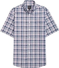 Men's Shirts, Traveler Collection Tailored Fit Short-Sleeve Button-Down Collar Plaid Sportshirt - Jos A Bank