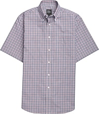 Men's Shirts, Traveler Collection Tailored Fit Short-Sleeve Button-Down Collar Gingham Check Sportshirt - Jos A Bank