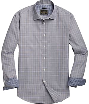 Reserve Collection Tailored Fit Spread Collar Plaid Sportshirt