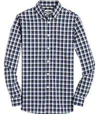Men's Shirts, 1905 Collection Tailored Fit Button-Down Collar Plaid Sportshirt with brrr° comfort - Jos A Bank