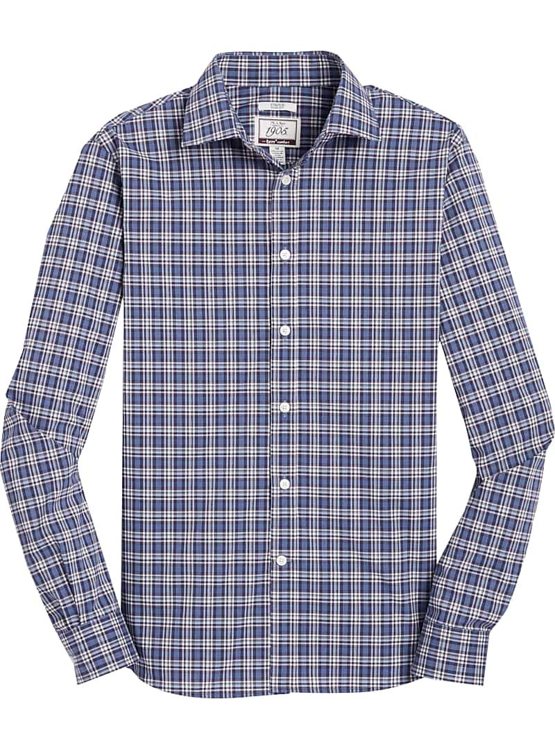 1905 Collection slim fit Spread Collar Plaid Sportshirt
