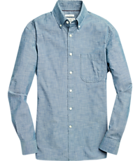 Men's Shirts, 1905 Collection Tailored Fit Button-Down Medium Wash Sportshirt - Jos A Bank