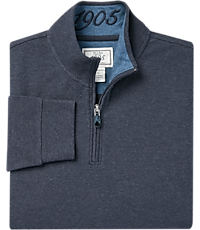 1905 Collection Cotton Quarter Zip Mock Neck Knit Pullover