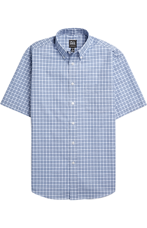 Men's Shirts, Traveler Collection Traditional Fit Button-Down Collar Short-Sleeve Plaid Sportshirt - Jos A Bank