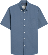 Men's Shirts, 1905 Collection Tailored Fit Button-Down Collar Print Pattern Short Sleeve Sportshirt - Jos A Bank