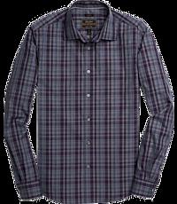 Reserve Collection Slim Fit Spread Collar Plaid Men's Sportshirt
