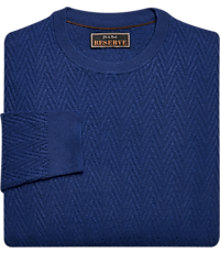 Men's Sweaters, Reserve Collection Wool & Cotton Blend Herringbone Crew Neck Sweater - Jos A Bank