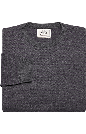 Men's Sweaters, 1905 Collection Tailored Fit Birdseye Crew Neck Wool Blend Sweater - Jos A Bank