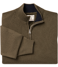 Image of 1905 Collection Wool Blend Quarter Zip Mock Neck Men's Sweater - Big & Tall