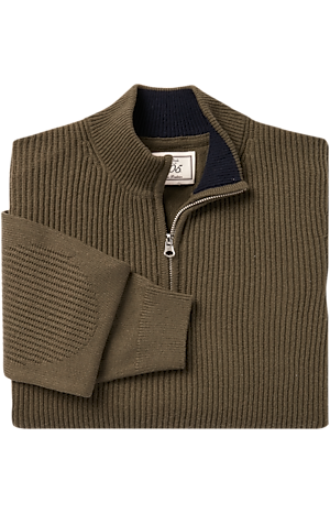Men's Sweaters, 1905 Collection Wool Blend Quarter Zip Mock Neck Sweater - Jos A Bank