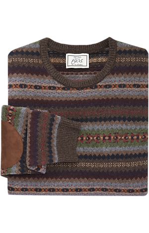 Men's Sweaters, 1905 Collection Wool Blend Crew Neck Fair Isle Sweater - Jos A Bank