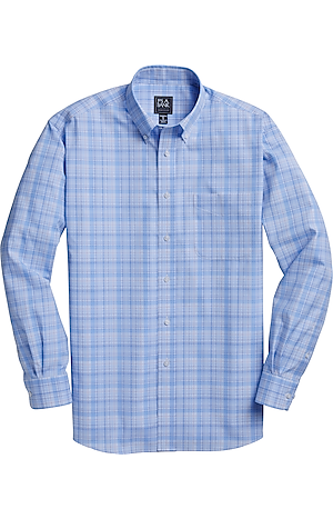 Men's Shirts, Traveler Collection Traditional Fit Button-Down Collar Plaid Sportshirt - Jos A Bank