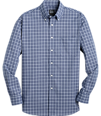 Men's FLYOUT_CATEGORY, Traveler Collection Traditional Fit Button-Down Check Sportshirt - Big & Tall - Jos A Bank