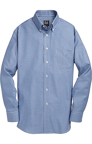 Men's Shirts, Traveler Collection Tailored Fit Button Down Collar Check Sportshirt - Jos A Bank