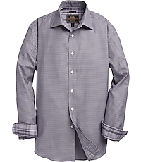 Image of Reserve Collection Tailored Fit Spread Collar Gridded Men's Sportshirt