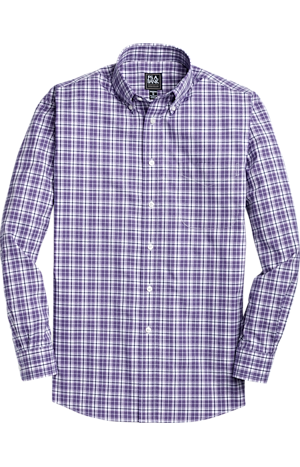 Men's FLYOUT_COLLECTION, Traveler Collection Traditional Fit Button-Down Collar Plaid Sportshirt - Big & Tall - Jos A Bank