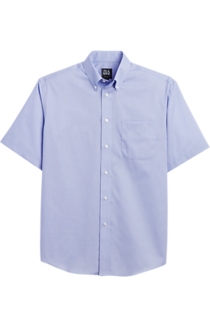 Men's Shirts, Traveler Collection Traditional Fit Button-Down Collar Dobby Short-Sleeve Sportshirt - Jos A Bank