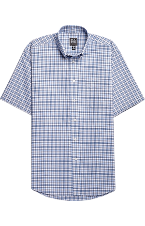 Men's Shirts, Traveler Collection Traditional Fit Button-Down Collar Plaid Short-Sleeve Sportshirt - Jos A Bank
