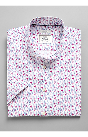 Men's FLYOUT_COLLECTION, 1905 Collection Tailored Fit Short Sleeve Button Down Collar Flamingo Sportshirt - Big & Tall - Jos A Bank