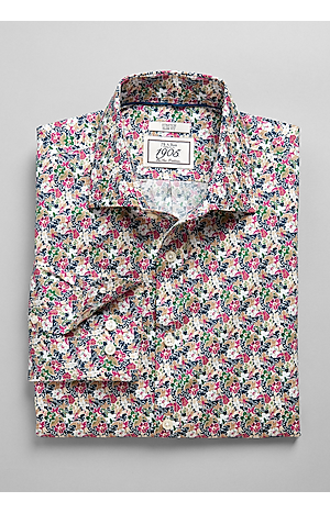 Men's FLYOUT_COLLECTION, 1905 Collection Tailored Fit Spread Collar Floral Sportshirt - Big & Tall - Jos A Bank