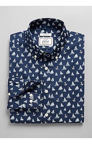 Men's FLYOUT_COLLECTION, 1905 Collection Tailored Fit Button-Down Collar Boats & Anchors Sportshirt - Big & Tall - Jos A Bank