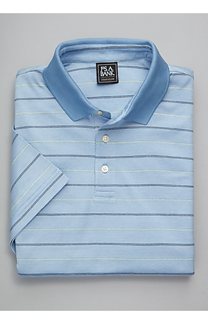 Men's Shirts, Traveler Collection Traditional Fit Herringbone Short Sleeve Stripe Polo - Jos A Bank