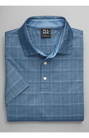 Men's Shirts, Traveler Collection Traditional Fit Plaid Short-Sleeve Polo - Jos A Bank