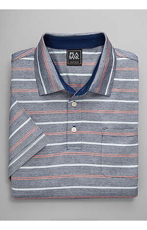 Men's FLYOUT_CATEGORY, Traveler Collection Traditional Fit Fine Stripe Short-Sleeve Polo - Big & Tall - Jos A Bank