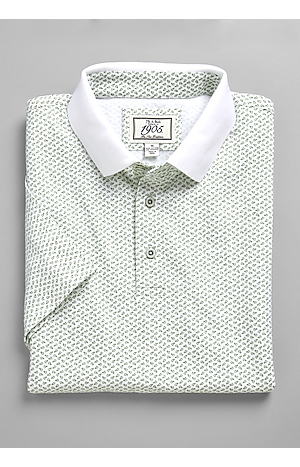 Men's Special Categories, 1905 Collection Traditional Fit Short-Sleeve Fish Pattern Polo - Jos A Bank