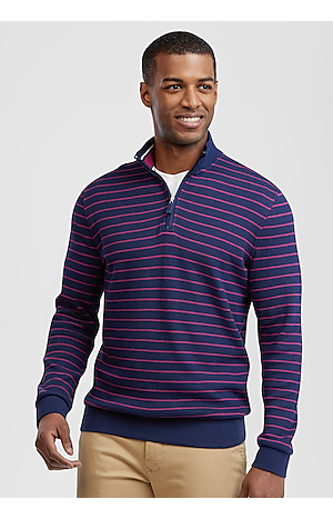 Men's Featured, 1905 Collection Tailored Fit Stripe Quarter Zip Mock Neck Pique Knit - Jos A Bank