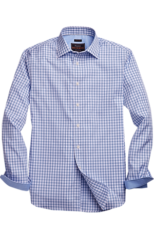 Men's FLYOUT_COLLECTION, Reserve Collection Tailored Fit Point Collar Plaid Sportshirt - Big & Tall - Jos A Bank