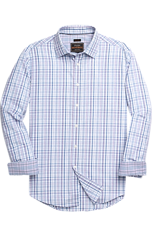 Men's FLYOUT_COLLECTION, Reserve Collection Tailored Fit Spread Collar Plaid Sportshirt - Big & Tall - Jos A Bank