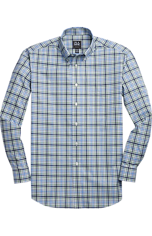 Men's Shirts, Traveler Collection Tailored Fit Button-Down Collar Plaid Sportshirt - Jos A Bank