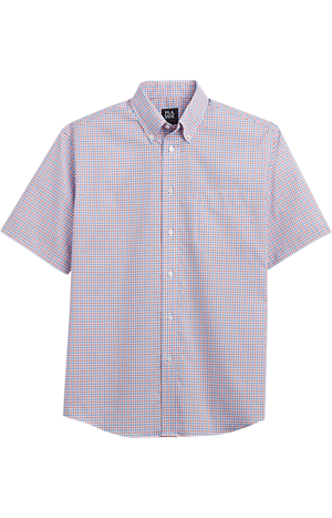 Men's FLYOUT_CATEGORY, Traveler Collection Traditional Fit Button-Down Collar Check Short-Sleeve Sportshirt - Big & Tall - Jos A Bank