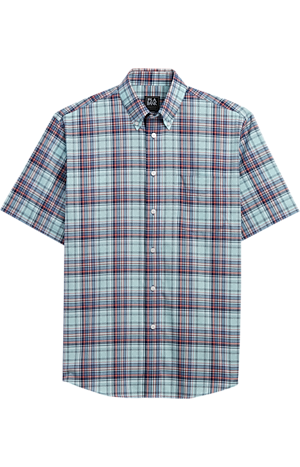 Men's FLYOUT_CATEGORY, Traveler Collection Traditional Fit Button-Down Collar Plaid Short-Sleeve Sportshirt - Big & Tall - Jos A Bank