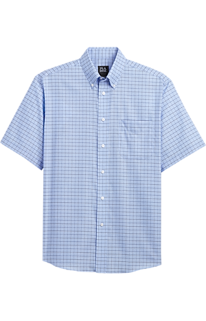 Men's Sale, Traveler Collection Traditional Fit Button-Down Collar Grid Pattern Short-Sleeve Sportshirt - Jos A Bank