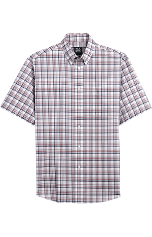 Men's Sale, Traveler Collection Traditional Fit Button-Down Collar Plaid Short-Sleeve Sportshirt - Jos A Bank