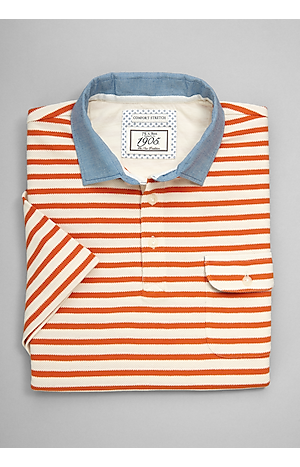 Men's Shirts, 1905 Collection Tailored Fit Stripe Short-Sleeve Pique Polo - Jos A Bank