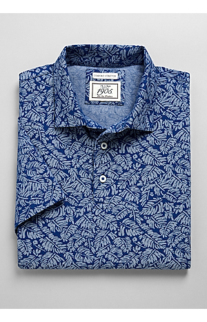 Men's Sale, 1905 Collection Tailored Fit Palm Leaf Short-Sleeve Polo Shirt - Jos A Bank