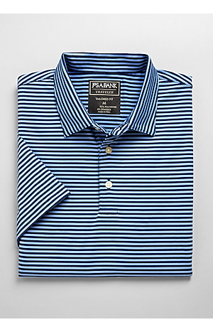 Men's Shirts, Traveler Collection Tailored Fit Short-Sleeve Stripe Polo Shirt - Jos A Bank