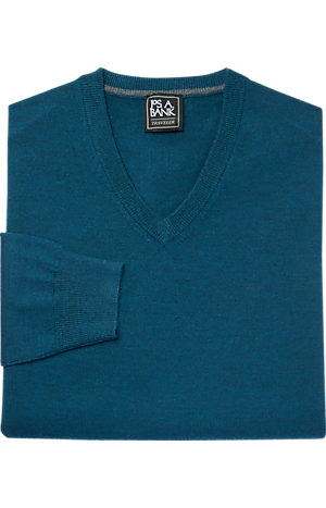 Men's Sale, Traveler Collection Merino Wool V-Neck Sweater - Big & Tall - Jos A Bank