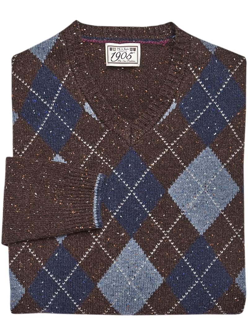 1905 Collection Traditional Fit Lambswool Argyle V-Neck Sweater