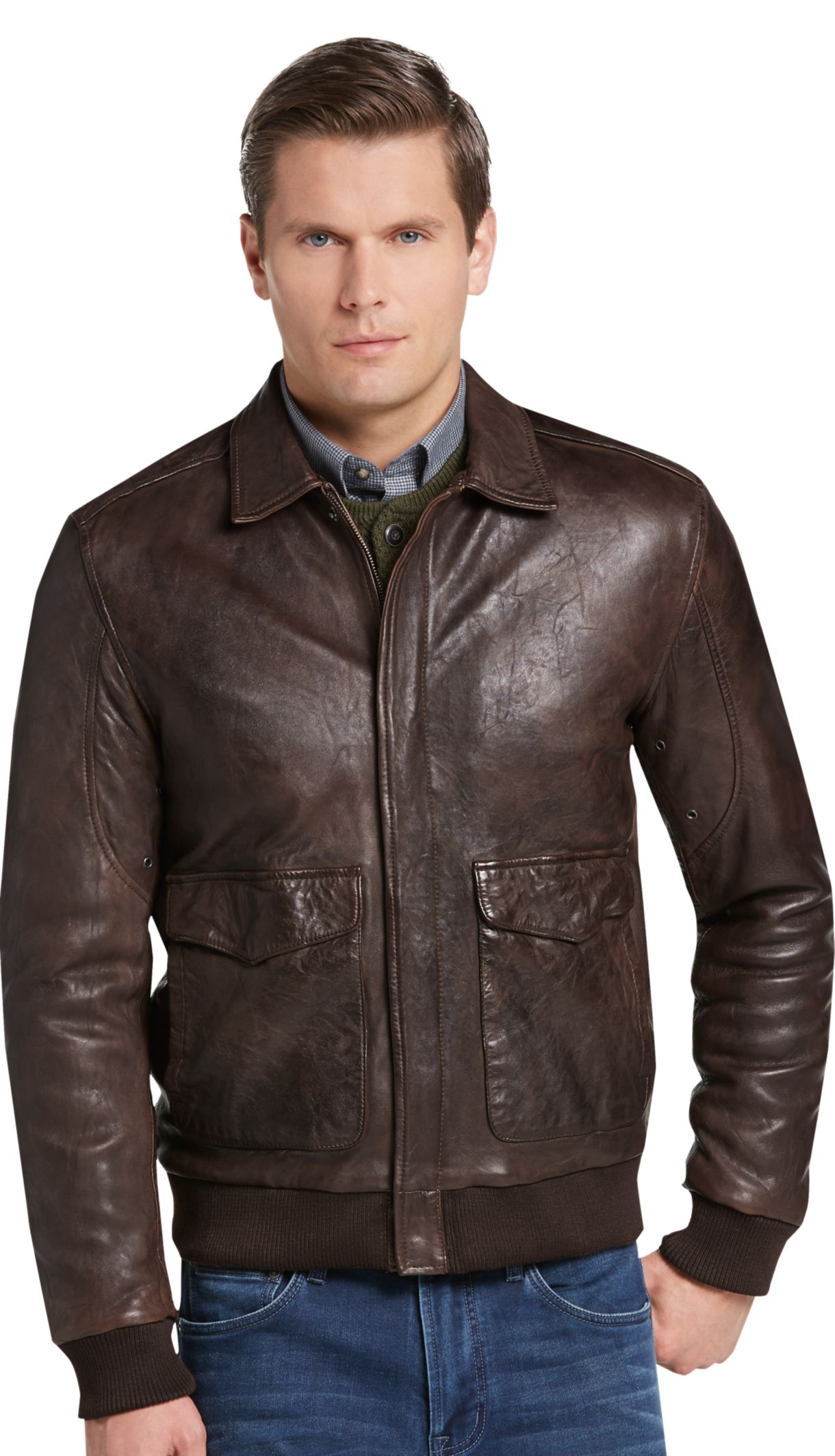 e71abf933 1905 Collection Tailored Fit Leather Bomber Jacket CLEARANCE