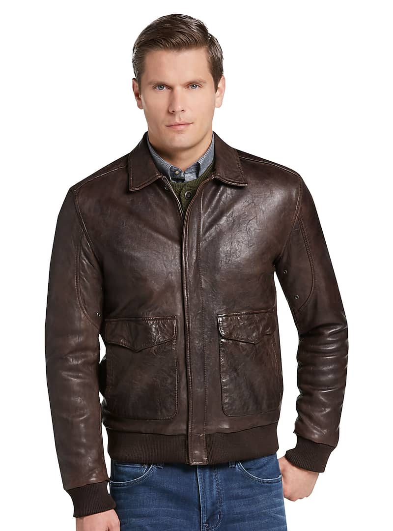 Jos. A. Bank Men's 1905 Collection Tailored Fit Leather Bomber Jacket