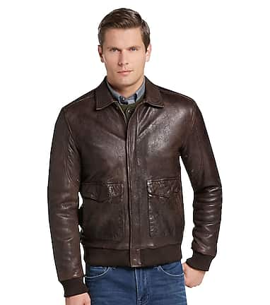 6de3fe360 1905 Collection Tailored Fit Leather Bomber Jacket CLEARANCE