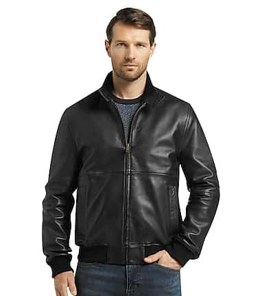 792a9f164e4 1905 Collection Tailored Fit Black Lambskin Bomber Jacket CLEARANCE  70DX