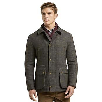 1905 Collection Tailored Fit Windowpane Plaid Barn Jacket
